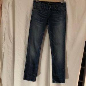 Levi's, too super low blue jeans, size